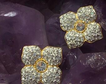 Stunning SWAROVSKI Crystal Swan Signed Clear Crystal Paved Flower Earrings