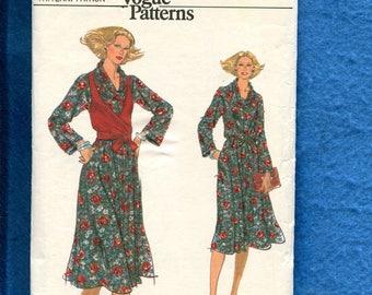 1970's Vogue 9872 Easy Fitting Cowl Neck Dress & Wrap Vest Topper Size 16