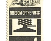 10 Freedom of the Press Postage Stamps // Vintage 1958 Postage for Mailing