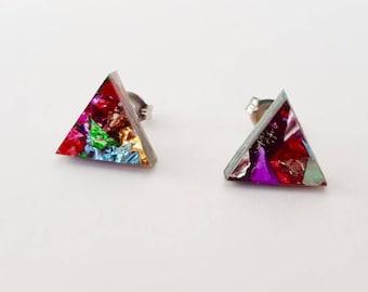 Triangle laser cut acrylic studs - rainbow studs - acrylic laser cut studs - acrylic earrings
