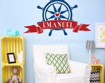 Nursery Wall Decal, Wall Decals Nursery, Personalized Monogram, Nautical Wall Decal, Nursery Wall Art, Nursery Wall Decals, Wall Art 02-0012