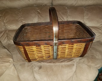 Antique Wood/Wicker/Metal Handled Basket