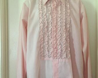 70's Men's Pink Tuxedo Ruffle Shirt 16.5/35 Large