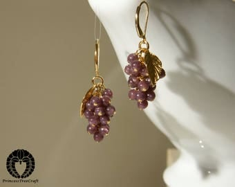 AA Lepidolite Grapes Earrings with 14K gold filled ear wire