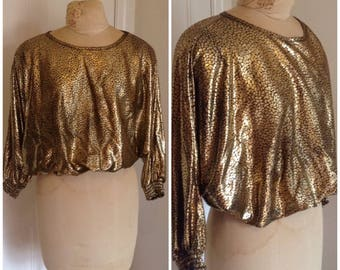 1980s gold dolman sleeve vintage top, size large, xl 12 14 16 vintage top, vintage shirt, tops for women