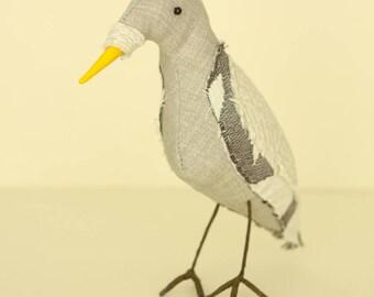 Grey Bird soft sculpture textile art