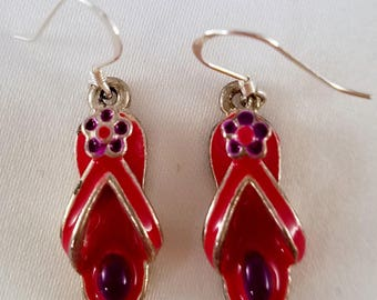 Red flip flop earrings