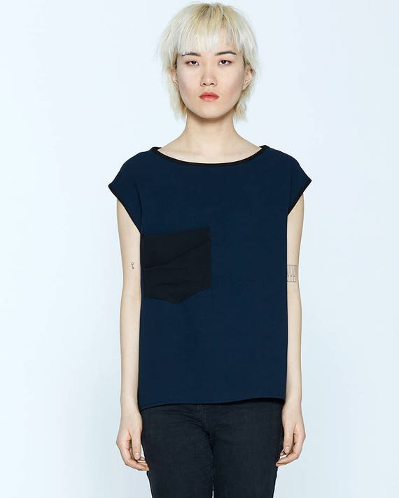 BLOODY MARY - plain top, short sleeves with oversize pocket for womens - navy blue