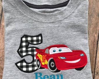 Cars Lightning McQueen birthday shirt with name and number