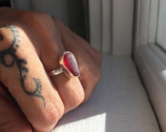 Sea Glass Ring Sz 6.75 Mermaid Jewelry Sterling Silver