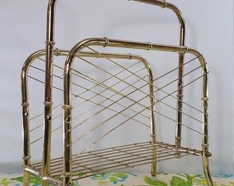 Vintage Gold Brass Bamboo Magazine Rack
