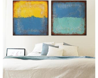 """Original Abstract Painting, Canvas 59.1""""x23.6"""" - Wall Decor - Landscape Art - White, Blue, Red Textured - Ronald Hunter"""