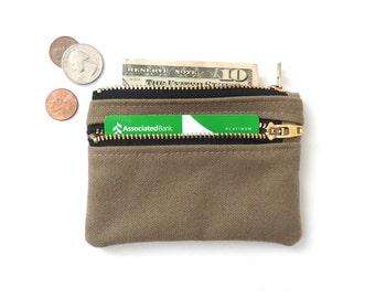 Canvas Wallet Pouch Double Zipper Coin Purse Slim Wallet Tan