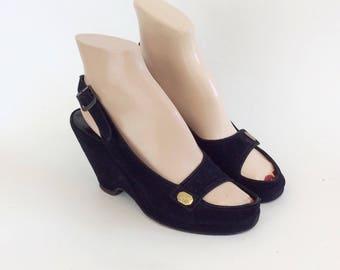 40s Black Suede Slingback Wedges / 1940s Vintage Open Toe Suede Sandals / Size 5.5 - 6