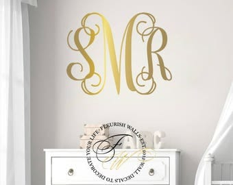 Monogram Wall Decal Personalized Three Initial Vinyl Wall - Monogram vinyl wall decals for girls