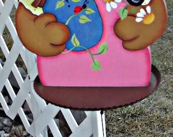 bird feeder,windchime,rabbit,bunny,rusty tin tray,wind chimes,bird house,garden decor,patio decor,