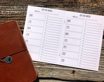 Traveler's Notebook B6 Size Meal Planning Inserts