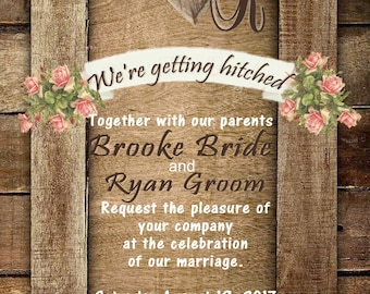 Rustic Western Wedding invitation includes reception card.