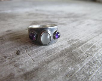 Regal Moonstone and Amethyst Mexican Silver Ring - Perfect for Royalty, Size 6
