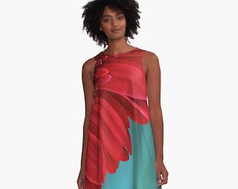 A Line Dress, Flower Clothing, Red Floral dress, Red and Teal Mini dress, A-Line Flare Dress, Flower Skater Dress, Gerber Daisy Mini Dress