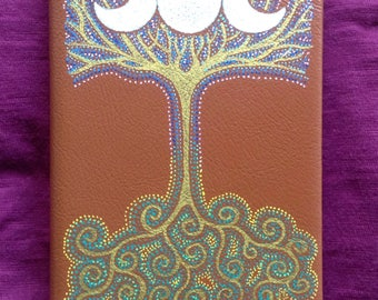 Triple Moon/Tree of Life Hand painted leather pocket journal. White lined paper
