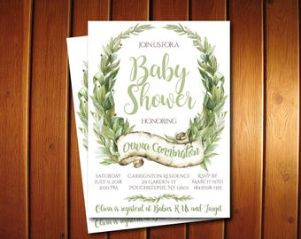 Greenery Baby Shower Invitations, Gender Neutral Baby Shower, Garden, Botanical, Wreath Boho Invitation