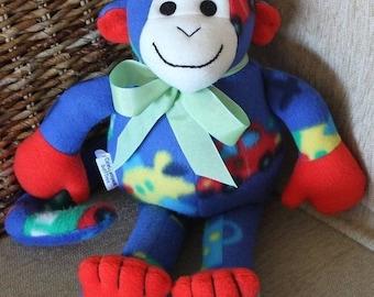 Monkey Plushie/ Soft Toy in Polar Fleece. Baby Shower/Birthday Gift.  OOAK.  New.
