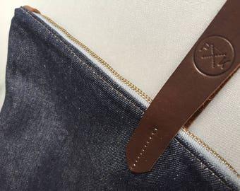 Large denim tote bag, denim shopper, denim bag, denim changing bag, denim and leather bag, weekend holdall, denim shoulder bag, denim