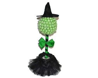 Witch Lollipop Topiary, Witch Candy Centerpiece, Halloween Candy Tree, Candy Buffet, Wizard of Oz, Wicked Witch, Candy Table Decoration