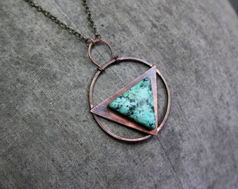 Copper and Turquoise Necklace, Bohemian Pendant, Tribal Primitive Necklace, Hammered Copper Pendant, Copper Plaque Necklace, Warrior Pendant