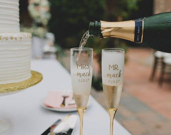 Personalized Kate Spade Simply Sparkling Gold Champagne Flutes (Set of TWO) Custom Engraved Toasting Flute, Wedding Engagement Anniversary