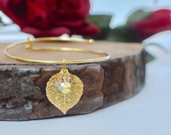 Gold Charm Bangle - Stacking Bracelet - Real Leaf Jewelry - Leaf Charm Bracelet - Woodland Jewelry - Layering Leaf Bangle Bracelet -Mom Gift