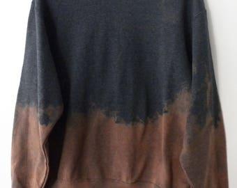 Gray Sweatshirt, crewneck sweatshirt, tie dye sweatshirt, Dip dye, acid wash, sweater, Boho, Grunge, rocker