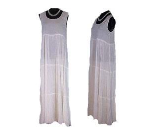 TIERED CRINKLED DRESS, white silk cotton dress, Vintage crinkle Dress, white pull on dress, ankle length, drip dry, EuropeanReteroFashion
