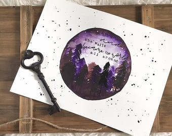 """12x9 Original Hand Lettered Watercolor """"And The Walls Became The World All Around"""" Scene"""