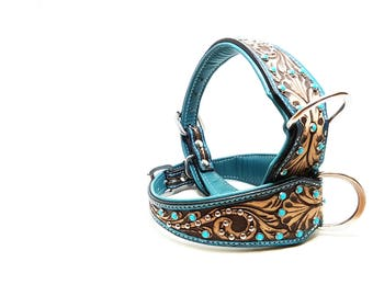 All Turquoise Hand Tooled MadcoW Western Bling Canine Leather K9 Dog Collar Hand Made Fully Adjustable
