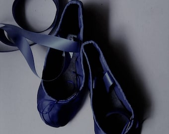 Navy Blue Satin Ballet Shoes - Full sole or Split sole - Adult sizes