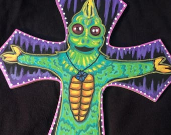 "Sleestak Attack original hand painted  Land of the Lost artwork on a wooden cross. 12"" x 9""."