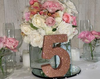 Wedding table numbers, Rose Gold Wedding, wedding reception table  decoration, Rose gold wedding centrepieces, Blush wedding table numbers