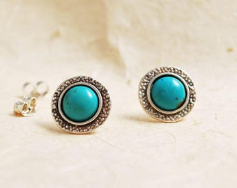 Large Turquoise Stud Earrings, Sterling Silver stud earrings, Round Turquoise stud earrings, Everyday earrings, Unique Turquoise earrings