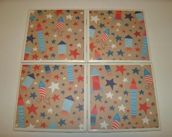 Patriotic Coasters, American Drink Coasters, Seasonal Home Decor, Fireworks Tile Coasters, Drink Table Coasters, 4 pc set, July Decor,