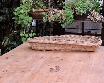 French Vintage Baguette Basket,  Long Bread Basket, Rustic French CountryFarmhouse Kitchen, Baguette Pain, Woven Wicker Bread Proving Basket