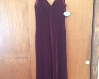 NWT Vintage Women's Patra Maroon Velvet Maxi Dress 12