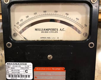 Weston Electrical Instrument Corp. Milliamperes test meter. Salvaged from Magnavox radio factory.