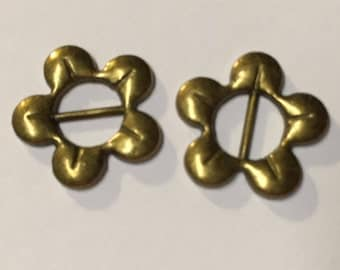 2 5mm flat leather brass open flower slides for bracelet, necklace, jewelry finding supplies