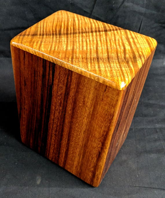 "Large Curly Hawaiian Koa Memorial Cremation Urn... 7""wide x 5""deep x 9""high Wood Adult Cremation Urn Handmade in Hawaii LK021918-C"