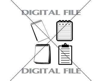 Four Notepads Vector Images SVG Files Digital Cutting Files  Ai - Eps - PNG - DXF - Svg
