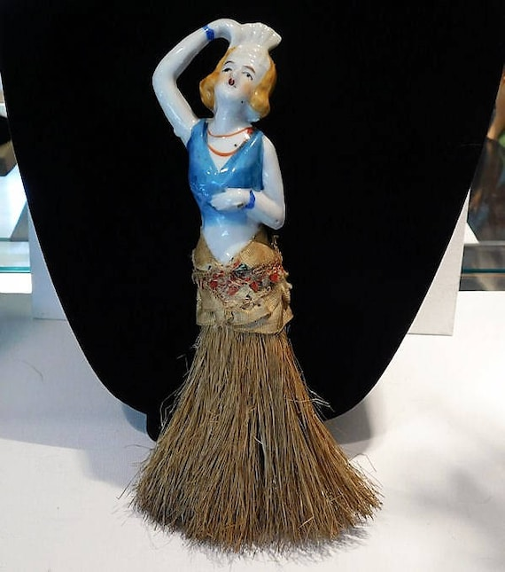 Porcelain Half Doll Whisk Broom Brush Art Deco 1920s Flapper Ziegfeld Follies Dancer Burlesque China Doll Vanity Cottage Home Decor Boudoir