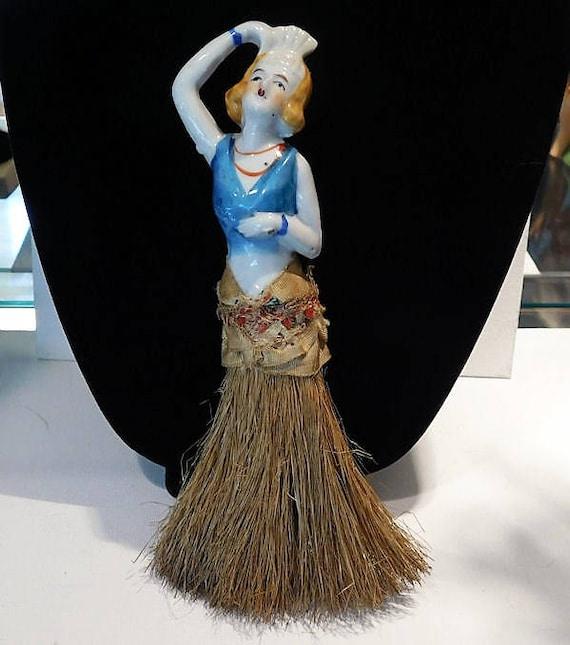 Porcelain Half Doll Whisk Broom Brush Art Deco 1920s Flapper Ziegfeld Follies Dancer Burlesque China Doll Vanity Cottage Home Decor Boudoir