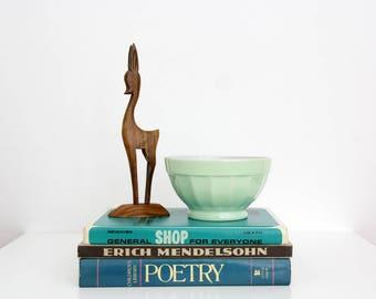 Vintage Wooden Sculpture // Carved Wood Art Deer Figurine // Bambi Figure